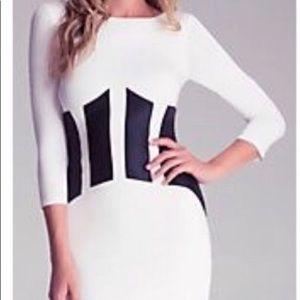White and Black Mini Bebe Dress